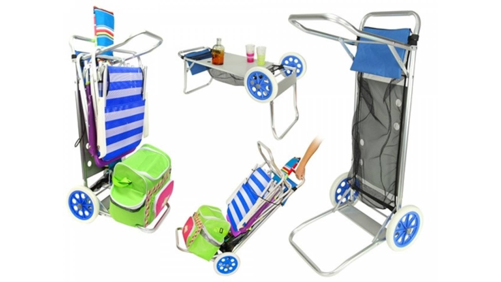 Carro mesa porta sillas para playa en aluminio