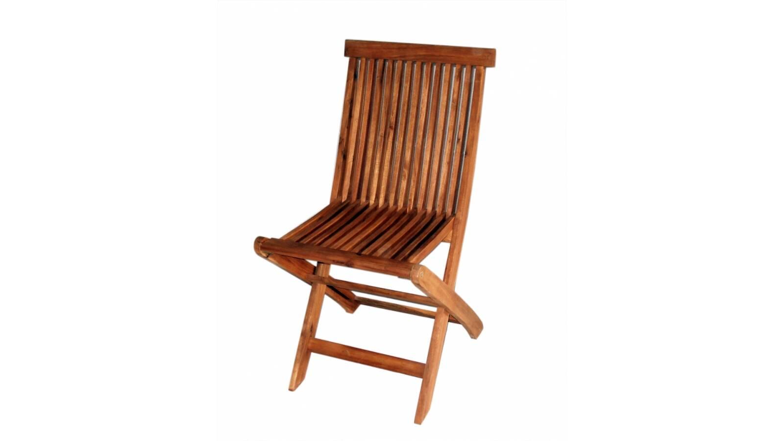 Silla plegable sin posabrazos en madera de acacia