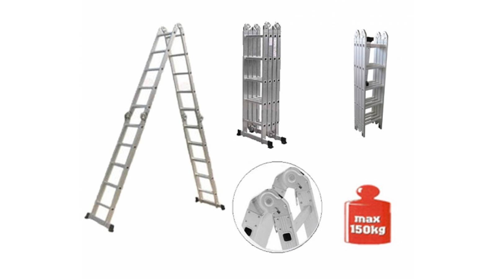 Escalera 5,70 m Multifuncion Combinada en aluminio - 20 Escalones