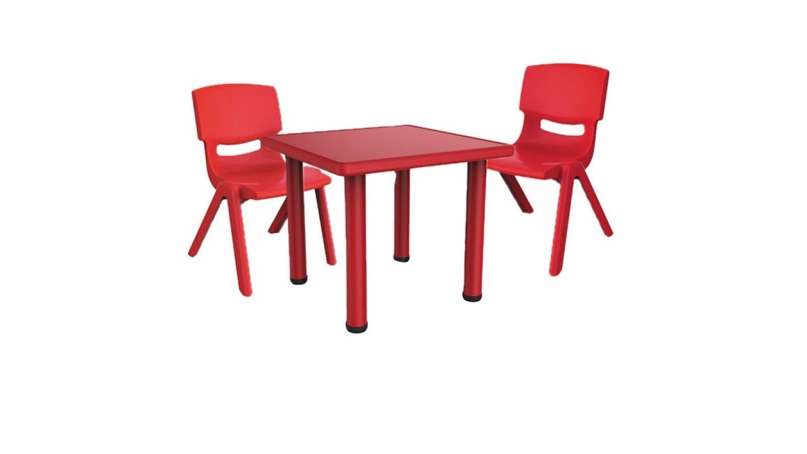 Mesa de plastico y metal +  2 sillas infantiles