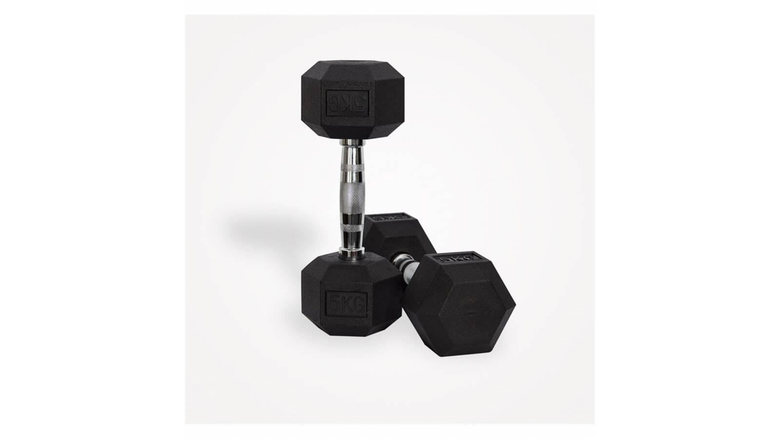 Mancuerna hexagonal fija de 5 kg - pesa pesas