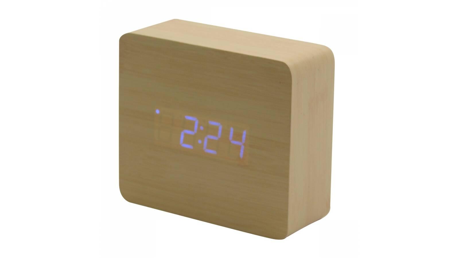 Reloj despertador alarma fm con display digital - madera tono claro