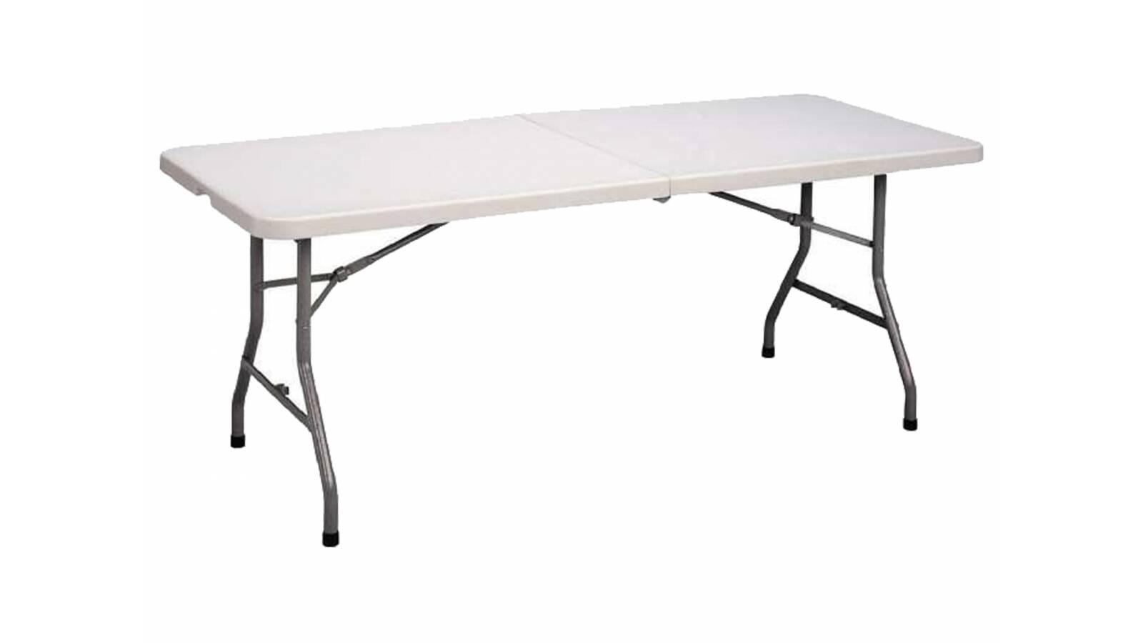 Mesa plegable tipo valija 152 cm Blanca