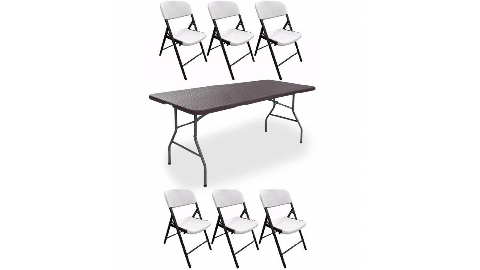 Mesa plegable 180 cm tipo Rattan + 6 sillas plegables