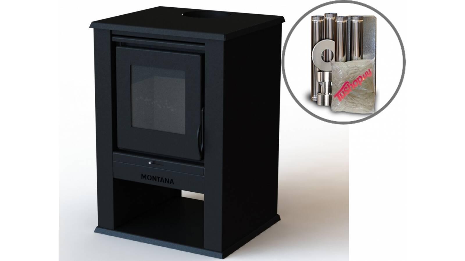 Estufa calefactor a leña Montana 9 KW - Cubre 93 m2 con kit de cañeria basico