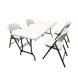 Mesa plegable 152 cm + 4 sillas plegables