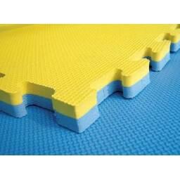 Piso de Goma Eva 1 x 1m y 2 cm de espesor - azul/amarillo