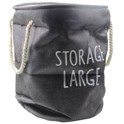 Canasto para ropa sucia en lino sintetico - Gris Oscuro