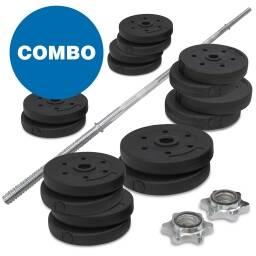 Kit 1 barra recta + 30 kg de pesas - gym discos