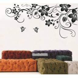 "Vinilo decorativo ""Tribal Flores Negras"" - Papel tapiz adhesivo"
