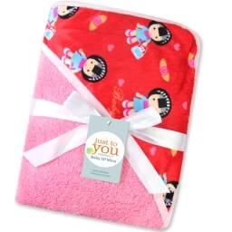 Manta acolchado para bebe rojo y rosa - cama frazada