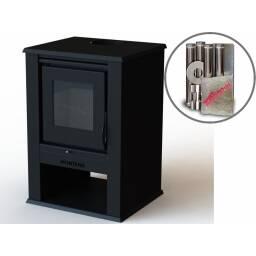 Estufa calefactor a leña 9 KW con kit de cañeria - Cubre 70 m2