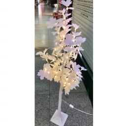 Arbol de hojas blancas con luces LED - decoracion navidad