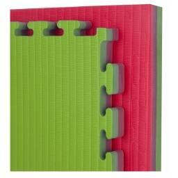 Piso de Goma Eva 100 X 100 X 2 cm de espesor verde/rosa