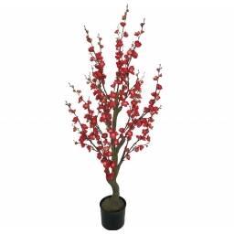 Planta artificial de flores rojas - 1,2m de alto