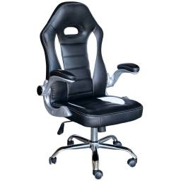 Silla Gamer Premium GAM100 - Color Blanco y Negro