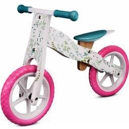 Bicicleta para niños en madera rosa - diseño flores