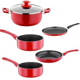 Juego de ollas rojas Papilla - bateria cocina 6 piezas