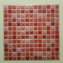 Revestimiento 3d mosaico rojo autoadhesivo - Simil ceramica