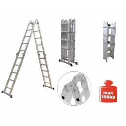 Escalera 3,70 m Multifuncion Combinada en aluminio - 12 Escalones