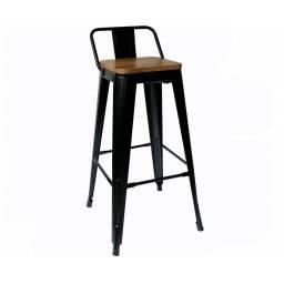 Taburete Tolix Negro con madera - banqueta bar silla alta