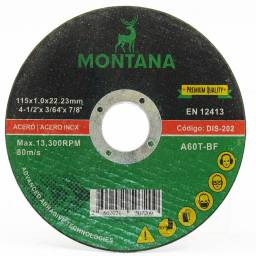 Disco Corte 4 ½'' Metal Montana 115x1.0mm   25 unidades