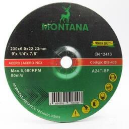 Disco Desbaste 9'' Metal Montana 230x6.5mm  5 unidades
