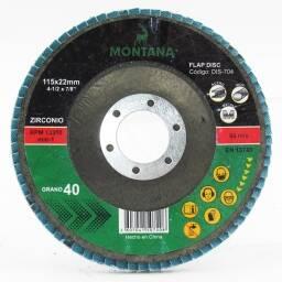 Disco Flap Zirconio Montana 4 ½'' 115 - Grano 80 - 5 unidades
