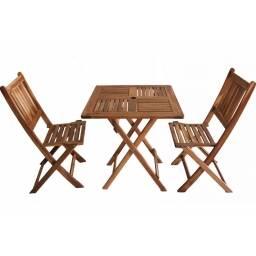 Juego de mesa + 2 sillas en madera de acacia