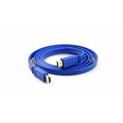 Cable HDMI plano de 1,5m con puntas recubiertas en oro  (1,4 1080p)