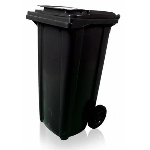 Tacho contenedor de basura negro 120 lts