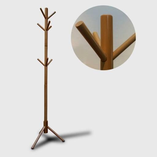 Perchero de pie en madera natural