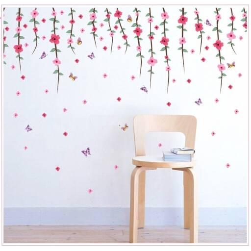 Vinilo decorativo   Flores colgantes