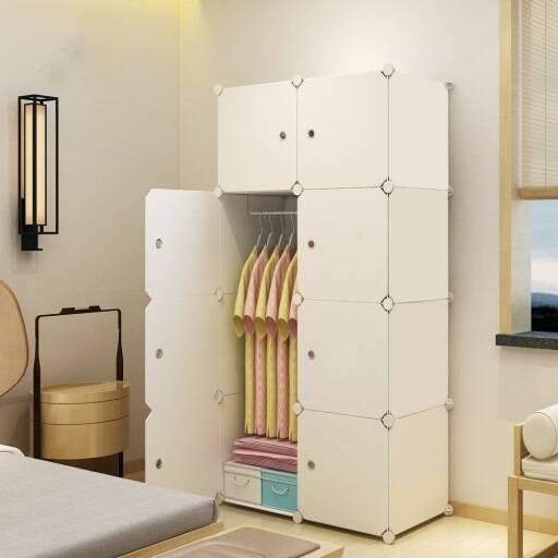 Mueble multifuncion de 8 Modulos con perchero - ropero