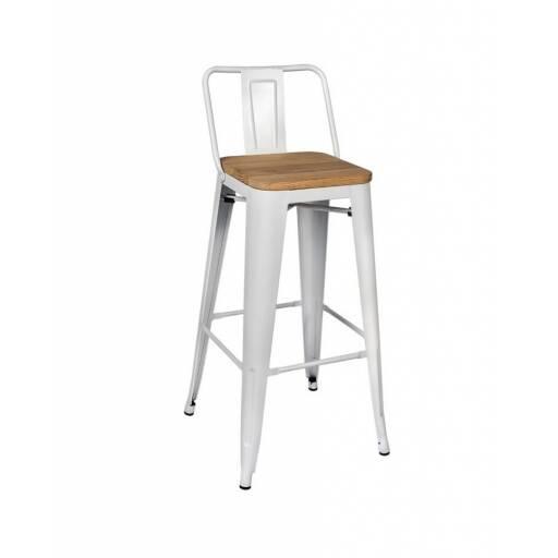 Taburete Tolix Blanco con madera - banqueta bar silla alta